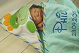 Kapuzentuch mit Namen bestickt HANDTUCH MIT KAPUZE 76x76 cm 100% Baumwolle Geschenk (Türkis - Dino)