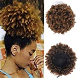 Rosa Star Afro Puff Drawstring Ponytail Synthetic Short Afro Kinky Curly Afro Hair Bun Extension Hairpieces Updo Hair Extensions with Two Clips (2/27#)