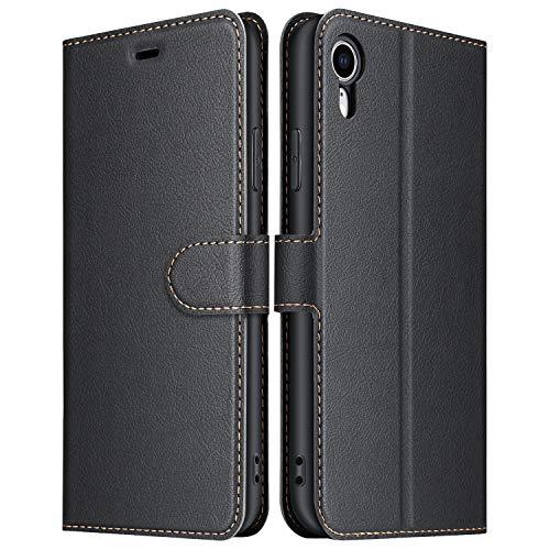 ELESNOW Hülle für iPhone XR, Premium Leder Klappbar Wallet Schutzhülle Tasche Handyhülle mit [ Magnetisch, Kartenfach, Standfunktion ] für Apple iPhone XR - 6.1 Zoll (Schwarz)