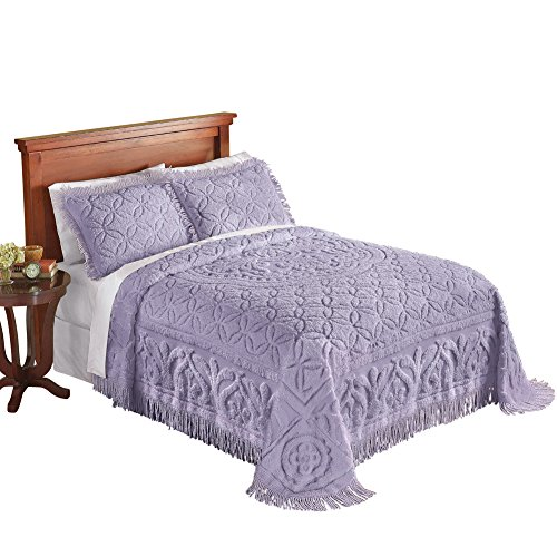 Collections Etc Elegant Victoria Plush Chenille Bedspread with Fringe Border and Ring Design, Lavender, Queen