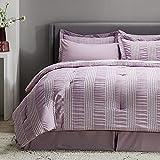 Bedsure Full Queen Comforter Set 8 Piece Bed in A Bag Stripes Seersucker Soft Lightweight Down Alternative Purple Bedding Set 88x88 inch