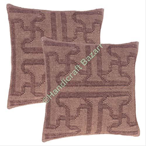 Handicraft Bazarr - Funda de almohada tradicional de lana Killim de yute con cremallera trasera reversible para decoración del hogar