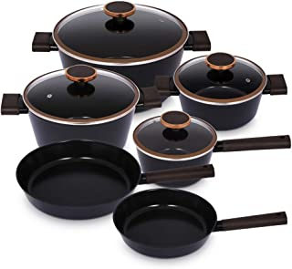 Neoflam Noblesse 10 Piece Cookware Set Black and Gold Premium Cookware Set Silver, Casserole,Saucepan,Pans and Pots Set wi...