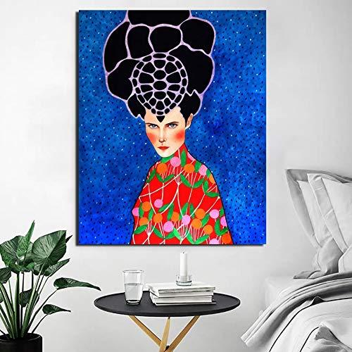 Leinwand Malerei Nordic Poster Coole Mädchen Kunstdruck Wohnzimmer Home Decor Moderne Wandkunst Poster Bild Rahmenlose dekorative Malerei A49 40x60cm