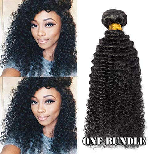 SEGO 6A Virgin Hair Bundles Sew in Hair Extensions Kinky Curly 100% Unprocessed Brazilian Human Hair Weave Hair Weft Extensions for Women #1B Natural Black 24 Inch 100g