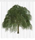 AdaCrazy Weinende Zweige mit freudigen Blättern Botanisches Thema Willow Tree Duschvorhang Stoff Badezimmer Dekor Set mit Haken 71 Zoll Dunkelgrün Olivgrün & Grün Braun