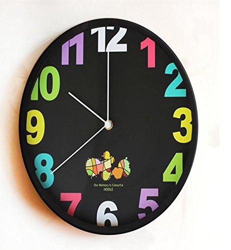Sucastle® 30x30x4.5CM metal Reloj de Pared 3D con Números Adhesivos DIY Bricolaje Moderno Decoración Adorno para Hogar Habitación Reloj de pared silencioso Reloj de Pared de Cuarzo Estilo
