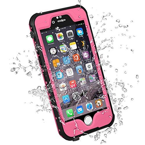 HESGI iPhone 6S Plus Waterproof Case, IP-68 Waterproof Shockproof Dust Proof Snow Proof Full Body Protective Case Cover for Apple iPhone 6S Plus iPhone 6 Plus 5.5[Pink]