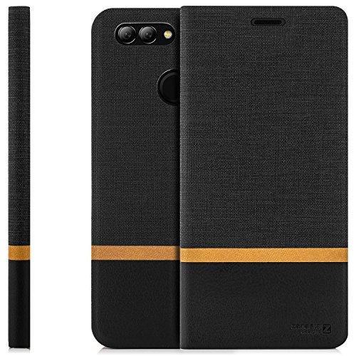 zanasta Tasche kompatibel mit Huawei Nova 2 Plus Hülle Flip Hülle Schutzhülle Handytasche mit Kartenfach Schwarz