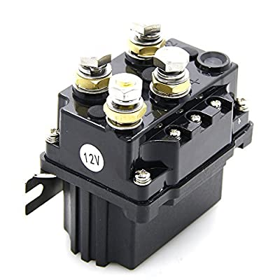 12V 500A Winch Solenoid Relay- with Powder Coated Finish- for ATV UTV 4X4 Truck Boat - Winch Contactor Rocker Switch Thumb