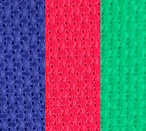 Aida-Stoff, Baumwolle, Kreuzstich, 30,5 x 45,7 cm, 14 Ct, Rot + Grün + Königsblau, 3 Stück