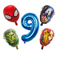バースデーバルーン 5ピーススパイダーマンアイアンマンホイルバルーンナンバーホイル風船誕生日パーティーデコレーション子供用ギフト (Color : Blue 9)