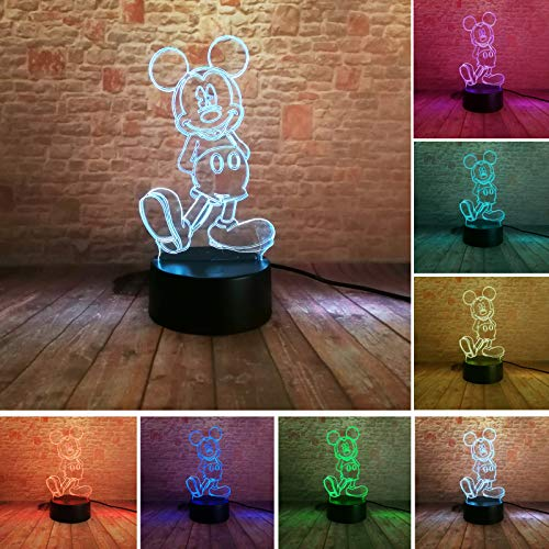 Fanrui Hot Glowing Cartoon 3D Girls Mickey Boys Mice Mouse LED 7 Colors Change Gradient Night Light Smart USB Touch Mood Bedroom Decor Lamp Child Baby Son Boys Xmas Happy Birthday Presents