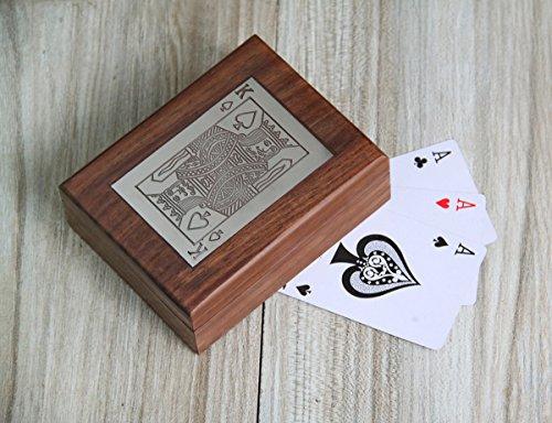 Weihnachtsge schenke exquisite handgefertigte dekorative hölzerne Doppel Spielkarte Deck Inhaber Box mit Messing Ace Design Inlay (Braun-1)