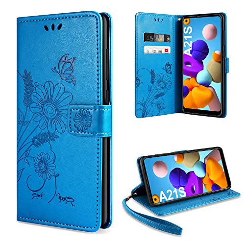 ivencase Handyhülle Kompatibel mit Galaxy A21s Hülle Flip Lederhülle, Handyhülle Book Hülle PU Leder Tasche Hülle & Magnet Kartenfach Schutzhülle (Blue)