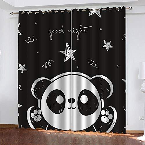 LWXBJX Opacas Cortinas Dormitorio - Panda Animal Blanco y Negro - Impresión 3D Aislantes de Frío y Calor 90% Opacas Cortinas - 200 x 214 cm - Salon Cocina Habitacion Niño Moderna Decorativa