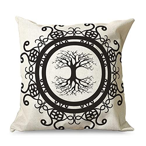 QVOOD Funda de cojín vikingo con árbol de la vida, de lino, para sofá, coche, dormitorio, hogar, 45 x 45 cm, color blanco