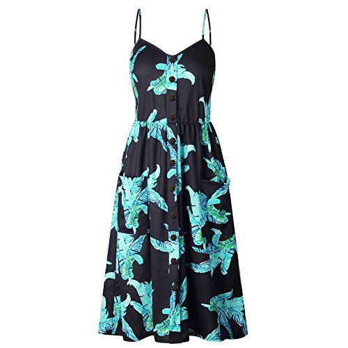 Ternly Vrouwen Fashion Dress Button A-Line Strappy Halter Neck Causal Floral Loose Sunflower Pineapple Printed V- Neck Beach mouwloze sling Summer Dresses H