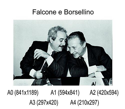 Social Crazy Poster su Carta Fotografica Premium 270 gr - Falcone e Borsellino - Fine Art Print Locandina HD 100% qualità Italia Idea Regalo Casa Quadro Home (A0)