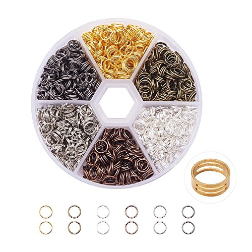PandaHall Elite 1700 pcs Double Jump Ring For Jewelry MakingWith Ring Tool4mm*0.7 mm in diameterMixed Color