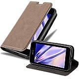Cadorabo Hülle für Nokia Lumia 530 in Kaffee BRAUN - Handyhülle mit Magnetverschluss, Standfunktion & Kartenfach - Hülle Cover Schutzhülle Etui Tasche Book Klapp Style