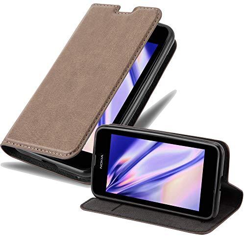 Cadorabo Custodia Libro per Nokia Lumia 530 in Bruno Café - con Vani di Carte, Funzione Stand e Chiusura Magnetica - Portafoglio Cover Case Wallet Book Etui Protezione