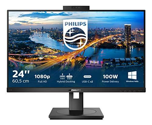 Philips 243B1JH - Monitor de 24 Pulgadas FHD USB-C, cámara Web, Altura Regulable (1920 x 1080, 75 Hz, HDMI, DisplayPort, USB-C, RJ45, hub USB), Color Negro
