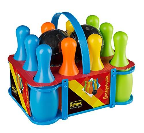 Idena 40116 - Kegelspiel Set XXL, Bowling für Kinder, 10 Kegel aus Kunststoff und 2 Kugeln, für zu Hause oder im Garten, ca. 20 x 20 x 30 cm