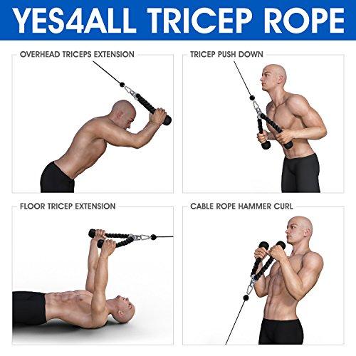 Yes4All Tricep Rope - Exercise Machine Attachment Press Down - 27