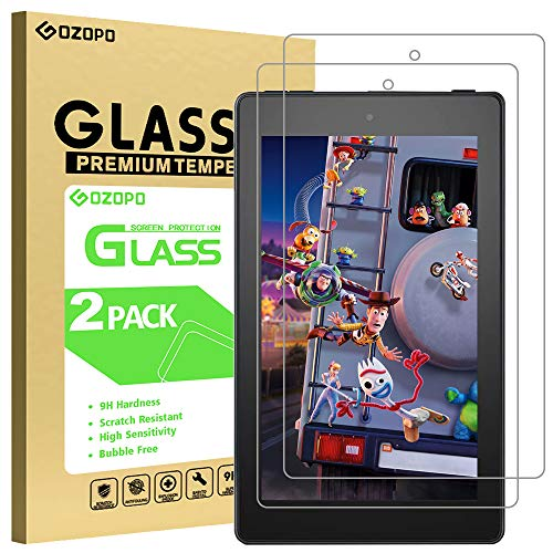 [2-Pack] GOZOPO Screen Protector for Fire 7/Fire 7 Kids Edition (9th/7th Gen, 2019 and 2017 Release) [Scratch Resistant ] Fire HD 7 Tempered Glass Film [2.5D Edge]