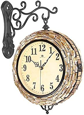 SUNQIAN-Watch the clock double large living room, the Mediterranean fashion watch, shell