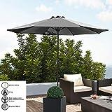 [casa.pro]] Parasol de Jardin Polyester Acier Revêtu par Poudre Gris 300cm x 230cm