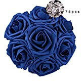 Carreking Artificial Flowers Roses 75pcs Royal Blue Fake Roses DIY Wedding Bouquets Shower Party Home Decorations Arrangements Party Home Decorations (Royal Blue+Diamond)