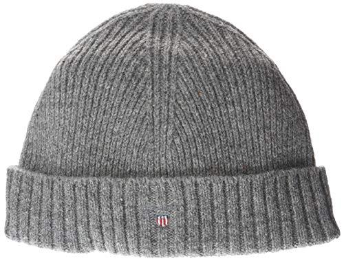 GANT Herren O2. Wool Lined Beanie Strickmütze, Grau (Dark Grey Melange), One Size