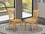 East West Furniture GRC-OAK-W Groton dining chairs - Wooden Seat and OAK Solid wood Frame dining room chair Set of 2