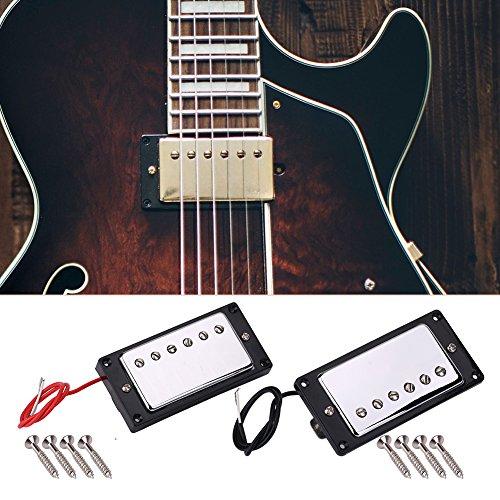 Dilwe Guitarra Pickups, Metal Guitarra Neck y Bridge Chrome Pastillas Humbucker para LP Guitarras Eléctricas