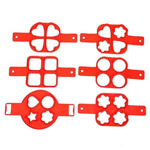 Bratpfannenring Spiegelei Form Muffinform 6 Stück Silikon Antihaft-Silikonform Küchenzubehör Handbuch DIY Küchenutensilien