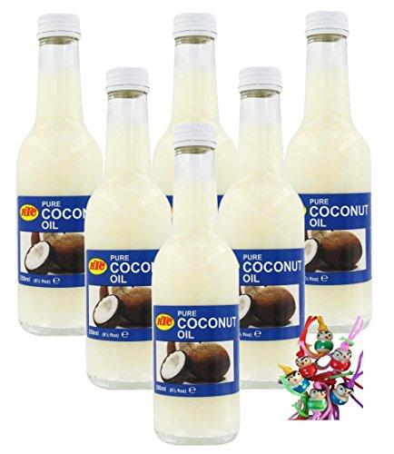 6er Pack 100% Pur Kokosöl [6x 250ml] Cocosöl ~ KTC Kokosnussöl, Pure Coconut Oil + ein kleines Glückspüppchen - Holzpüppchen