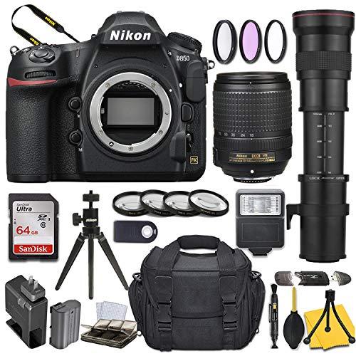 Nikon D850 DSLR Camera with AF-S DX NIKKOR 18-140mm f/3.5-5.6G ED VR + 420-800mm Telephoto Zoom Lens and Basic Travel Kit