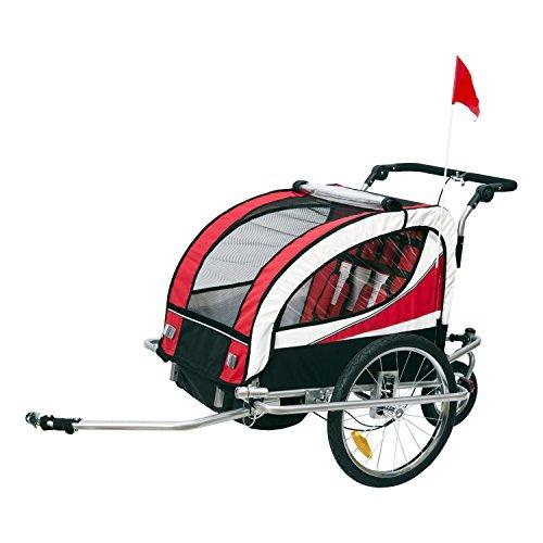 HOMCOM Remolque para Bicicleta tipo Carro con Barra de Paseo para Niños...