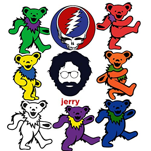 GTOTd Stickers for Jerry Dancing Bear Rock Band. Grateful Dead Gifts Car Window Vinyl Decal Sticker 2.7-4.0 Inch Vinyl Decal Sticker Pack?9 Pcs?