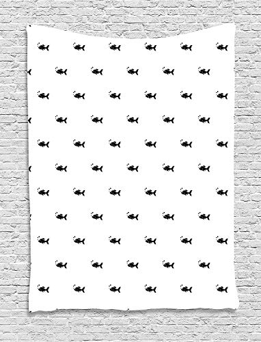 daawqee Aquarium Tapestry Cute Little Black Fish Figures on White Backdrop Bubbles Underwater Life Theme for Living Room Bedroom Dorm 60 W X 80 L Inches Unique Home Decor