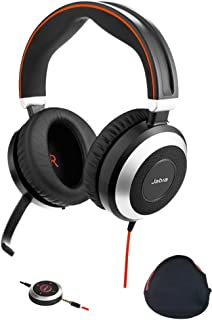 Jabra PC and Smartphone Headphones with Active Environmental Noise Canceling, Mic | Evolve 80 | Softphones - Cisco Jabber, Webex, Skype, Microsoft Lync, Streaming | USB Adapter, Travel Case Included