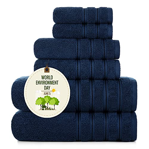 Sofi Towel 700 GSM Plush Bathroom Towels 6 Piece Luxury Comfort Towel Set Bath Towels Hand Towels Washcloths Blue