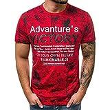 Camiseta de Manga Corta de Algod¨®n Casual para Hombres Gr¨¢Fico 88 Camisetas con Logo Camisetas de Hombre de Verano Camiseta Ajustada de Seda Tops rojo-03 XL