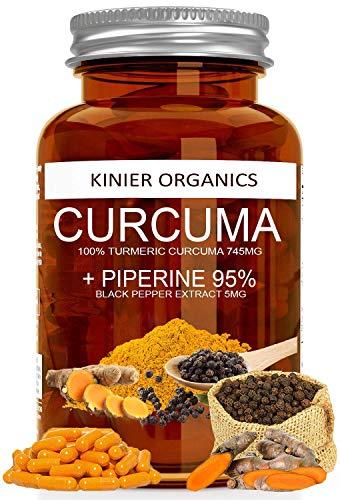 CURCUMA e PIPERINA 95% Kinier® | 120 Capsule da 750mg Brevettate per Altissima Biodisponibilità | Prodotto Certificato | Altissimo Dosaggio | Vegan • Antinfiammatorio • Antiossidante • Peso Forma