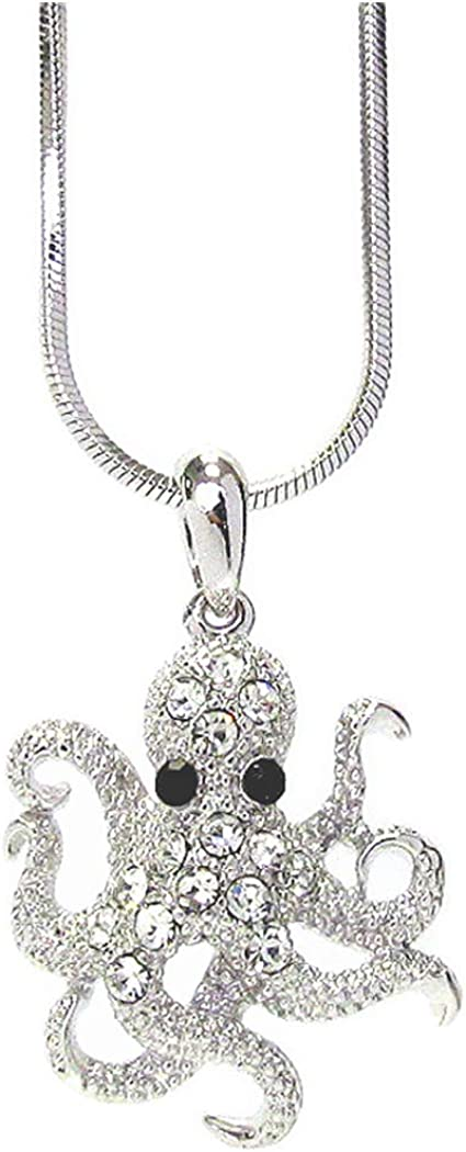 Fashion Jewelry ~ Crystal Octopus Pendant Necklace for Women Girls Teens Girlfriends Birthday Gifts