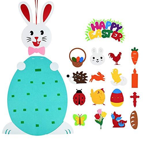 NSGJUYT Feliz Pascua Fieltro Conejito Conejo Decoración Colgante DIY Fieltro Pascua Conejito Conejo Adorno Desmontable