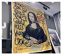 落書きタペストリーの壁掛けボヘミアンのビーチマットポリエステル毛布ヨガマットホームベッドルームアートカーペット (色 : Monalisa, サイズ : 95x73cm)