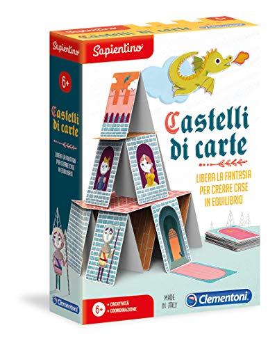 Clementoni 16241, Sapientino, Castelli di Carte, Gioco Educativo 6 anni con tessere illustrate, carte da Gioco bambino per creare castelli in equilibrio, Made in Italy